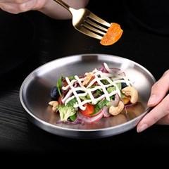 [쿠킹스]이중 원형 스텐 접시(17cm)