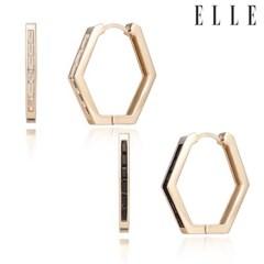 14K 베이직 원터치 육각 귀걸이 (gold pin) ELGPEE284_(999915)
