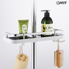 OMT 샤워봉 부착 욕실 수납 선반 다용도 걸이내장 2color