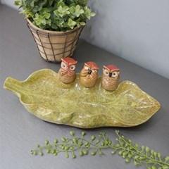3마리 부엉이 나뭇잎 수반