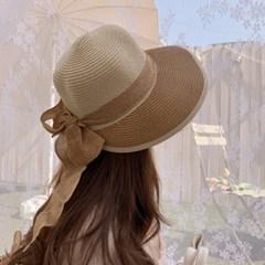 스트랩 리본 여성 썬캡 밀짚 지사 모자