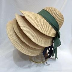 색띠 여름 스타일 라탄 챙넓은 버킷햇 벙거지 모자