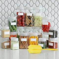 모노블 냉장고 정리용기 30개세트(라벨,세척솔증정)