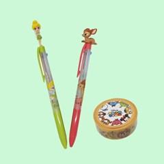 디즈니 팅커벨과 밤비 3색 볼펜&마스킹테이프 세트