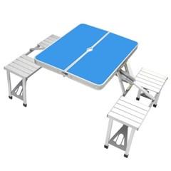 4인용 의자 일체형 접이식 캠핑테이블(블루)