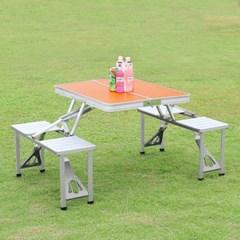4인용 의자 일체형 접이식 캠핑테이블(오렌지)