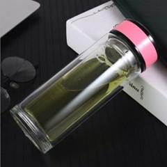 크리스 이중유리 티보틀(핑크) (270ml)