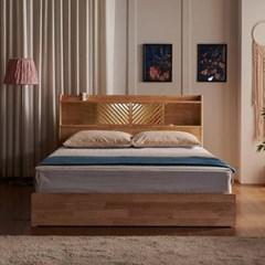 잉글랜더 로테르담 헤링본 LED 3단 원목 수납 침대(매트_(12793874)