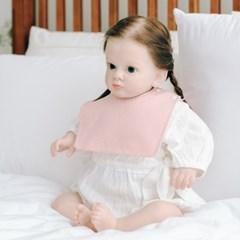 턱받이 파스텔핑크사각턱받이 아기 침받이 빕