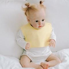 턱받이 잔체크옐로우사각턱받이 아기 침받이 빕