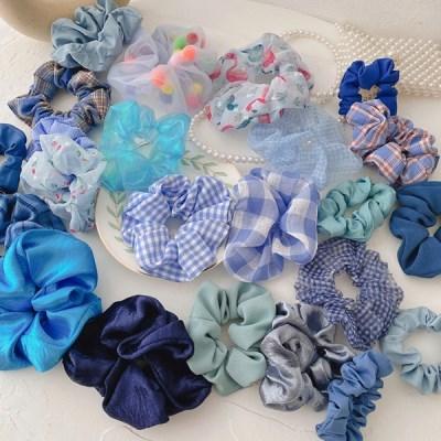 블루 여성 머리 곱창 머리끈 10개세트_(2434811)