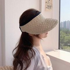 지사 여름 돌돌이 썬캡 라탄 모자 4color