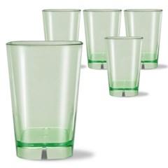 사각라운드 PC컵-360ml(12oz/그린)-5P 홈카페 물컵 투명플라스틱컵
