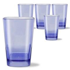 사각라운드 PC컵-360ml(12oz/블루)-5P 홈카페 물컵 투명플라스틱컵