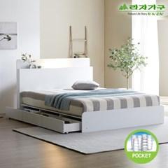 라자가구 오브 가인 LED 3서랍수납형 독립스프링 Q 침대 DM8866