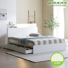 라자가구 오브 가인 LED 3서랍수납형 독립CL텍스 Q 침대 DM8867