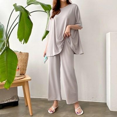 여자 홈웨어 와이드 팬츠 세트 스판 오버핏 티셔츠