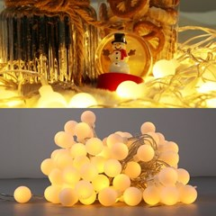 LED 볼츄리 100구 6W 투명선 점멸기 (전구색)