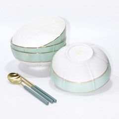 한국도자기 본차이나 더로얄 면기세트 4p 큰그릇 18cm