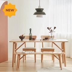 한샘 노스 오크 6인 식탁 벤치세트(의자2,벤치1 포함)