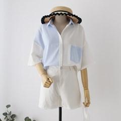 [모어댄베러]하프줄지 포켓7부셔츠