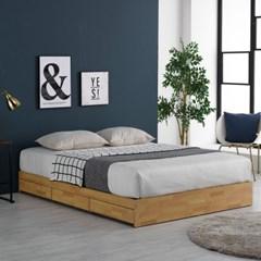 미코퍼니처 루시 3서랍 평상형 침대 Q + CL라텍스독립매트리스
