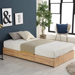 미코퍼니처 루시 3서랍 평상형 침대 SS + 본넬매트리스