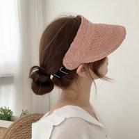 천연 라피아 밴딩 여름 썬캡 밀짚 모자