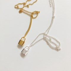 [92.5 silver & 14k gold plated] Unlock necklace (2 colors)