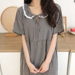 소녀감성 여름 깅엄 체크 원피스 잠옷 홈웨어