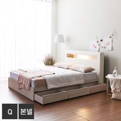 가구데코 제이스 LED 3서랍 퀸 침대+본넬매트 FO2092
