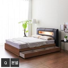 가구데코 케이트 LED 3서랍 퀸 침대+본넬매트 FO2098