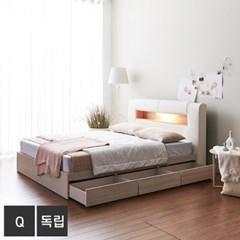 가구데코 케이트 LED 3서랍 퀸 침대+독립매트 FO2099