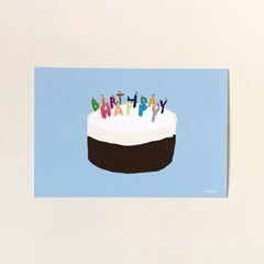 Happy birthday postcard (cheese chocolate cake)
