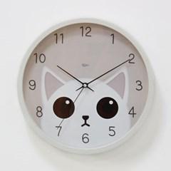 (kdrz150)저소음 스틸 고양이시계 300 화이트_(907450)