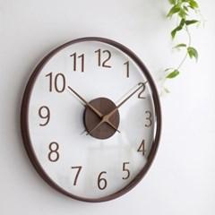[바나나] 큰41cm거실 다크브라운 유리나무 무소음 인테리어벽시계