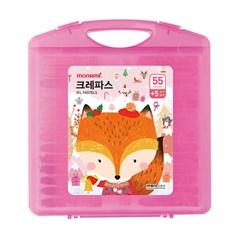 [모나미] 모니주 크레파스 55색 60본 (분홍)