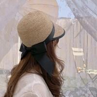 천연 라피아햇 리본 여름 모자 밀짚 썬캡
