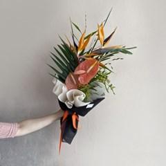[생화] 극락조화 안스리움 트로피컬 꽃다발(택배 불가능)