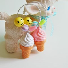 올패턴 LED 아이스크림 키링