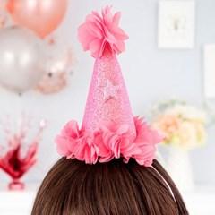 글리터 플라워 생일고깔모자 [핑크]_(12077513)
