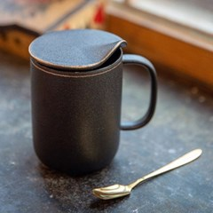 모던블랙뚜껑머그 / 카페 도자기 머그 컵 잔 선물용