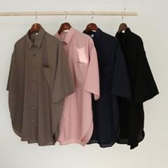 여름 남성 냉장고 오버핏 포켓 레이온 박스 반팔 셔츠 남방