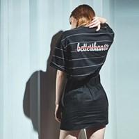 [베러댄88] 카디스 오버핏 20수 스트라이프 티셔츠 우먼 블랙