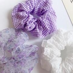 [3개세트][3color] 보라 장미 잔잔 체크 패턴 곱창 머리끈 세트