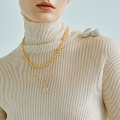 Oval Blank Round Medall Necklace (14K 골드필드)