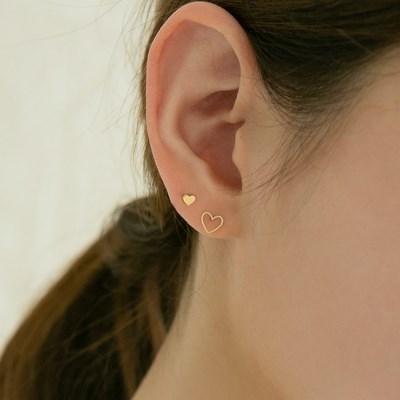 14k gold dot line heart earrings (14K 골드)