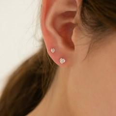 14k gold heart CZ earrings (14K 골드)
