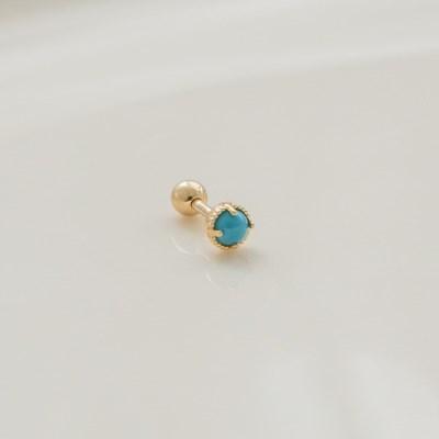 14k gold turquoise stone ball piercing (14k 골드)