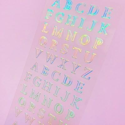 투명금테 투명도 100% Alphabet 오로라 칼선 스티커